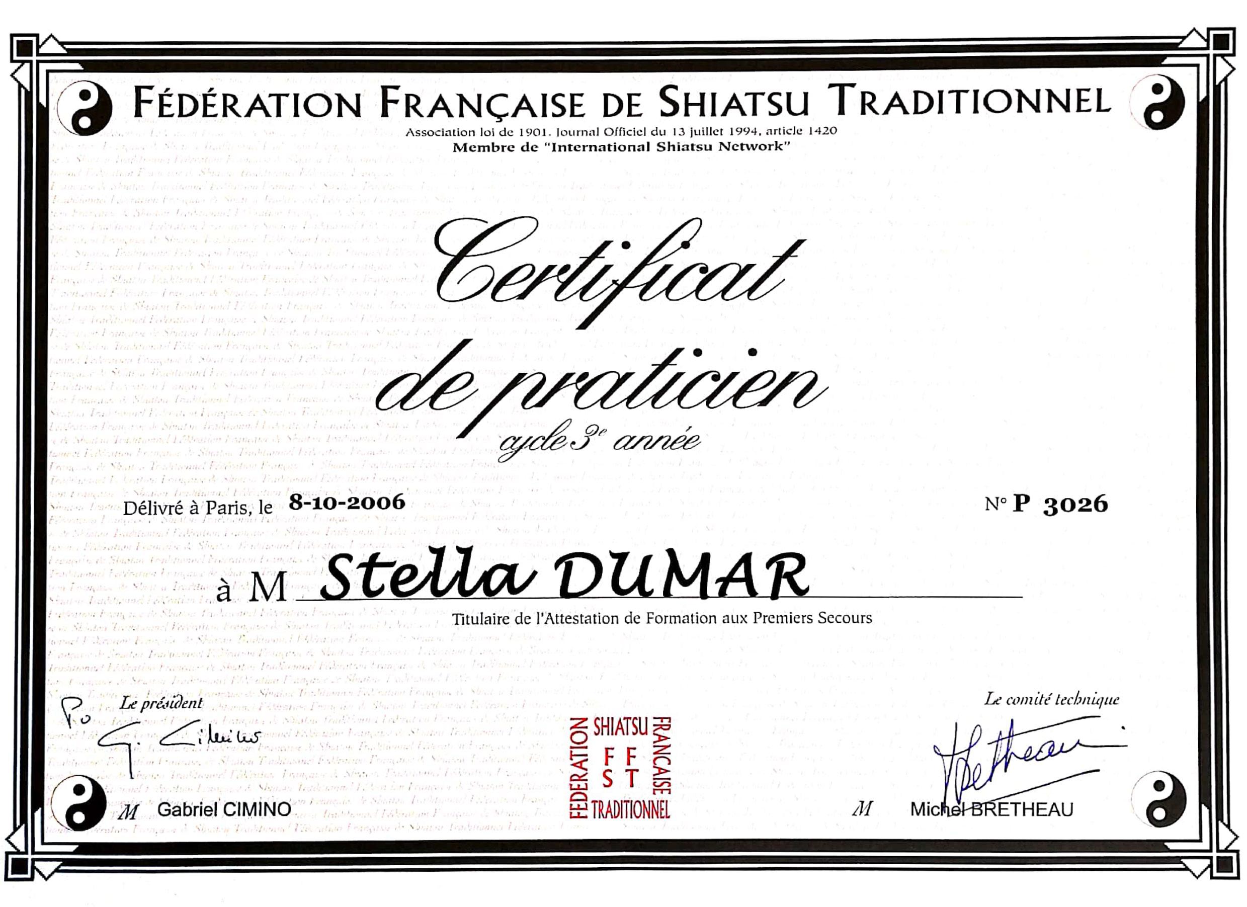 Certificat praticien Shiatsu Stella Dumar
