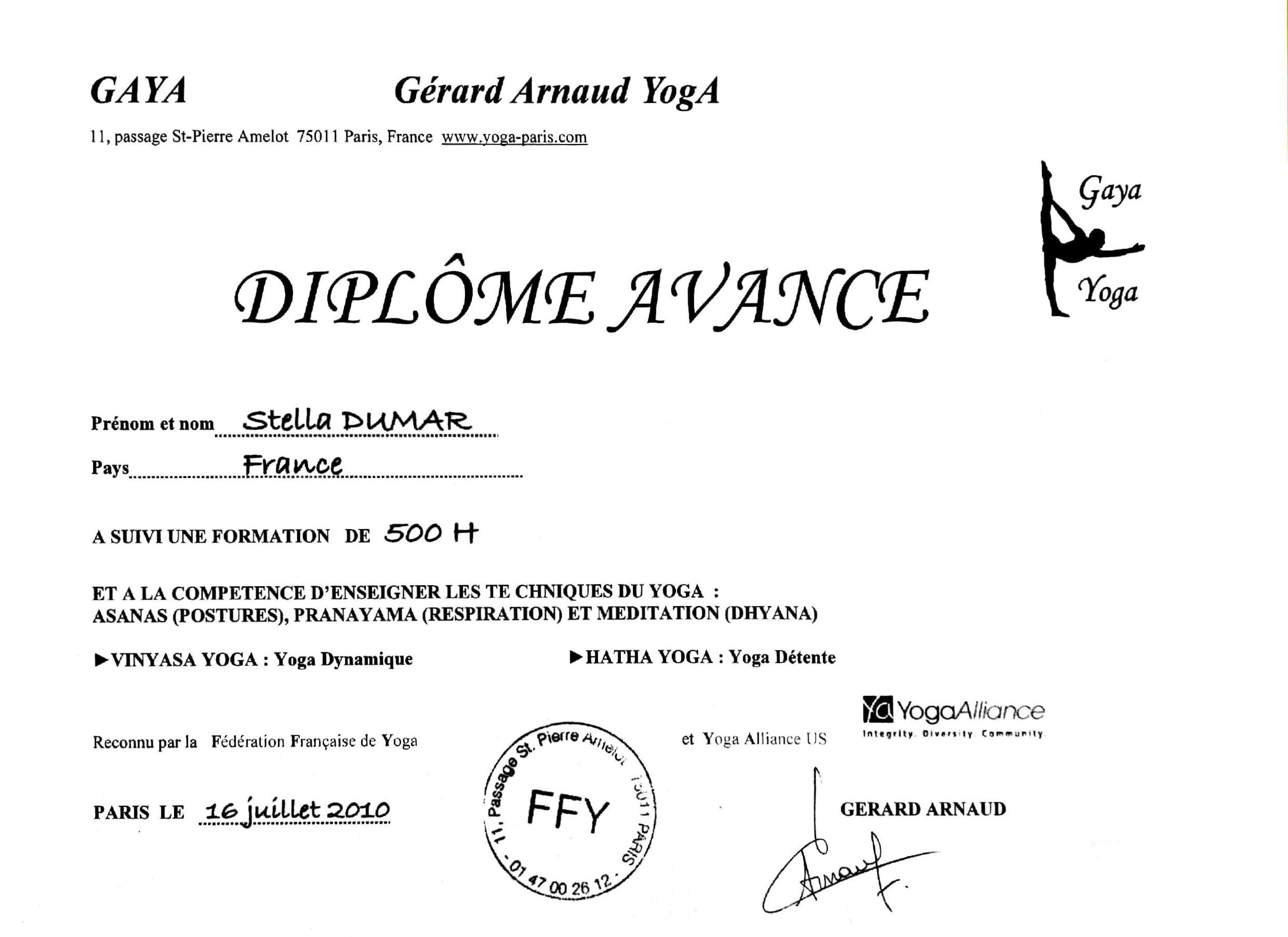 Diplome Yoga Stella Dumar